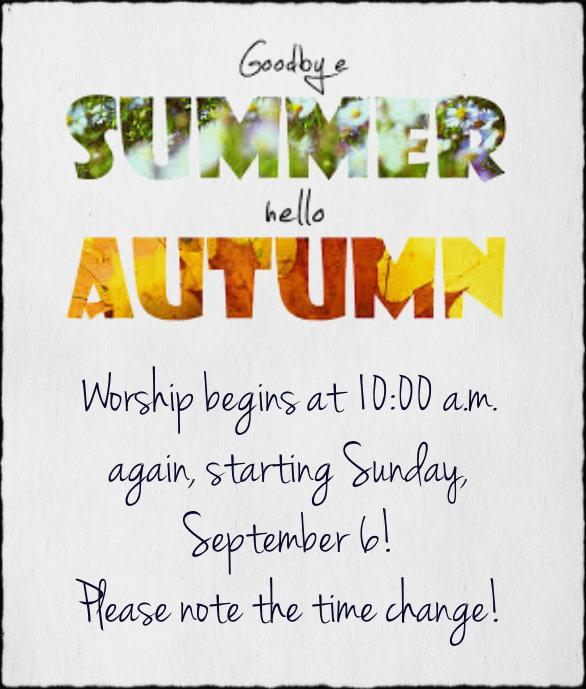 worship time change sept